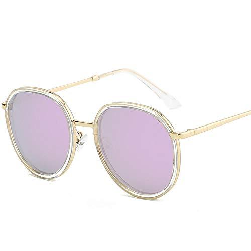 Gafas De Sol Gafas De Sol con Estilo Gafas para Mujer Vintage Retro Clásico Espejo Polarizado Redondo Marco Frío Metal-Putple_Glasses_2