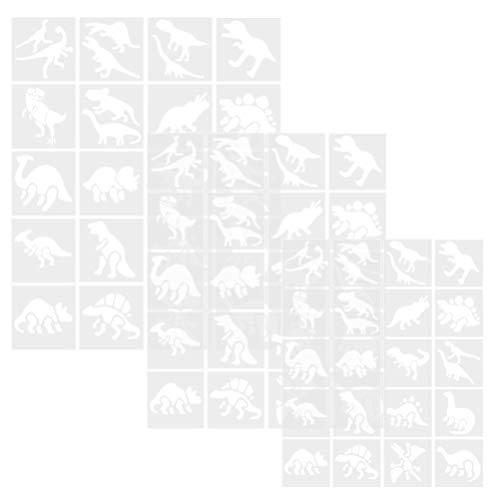 Artibetter 60St Dier Schilderij Stencils Dinosaurus Stencils Plastic Tekening Stencils Tekening Schaal Sjabloon Voor Kinderen Diy Kaart Maken Dagboek Bladwijzer