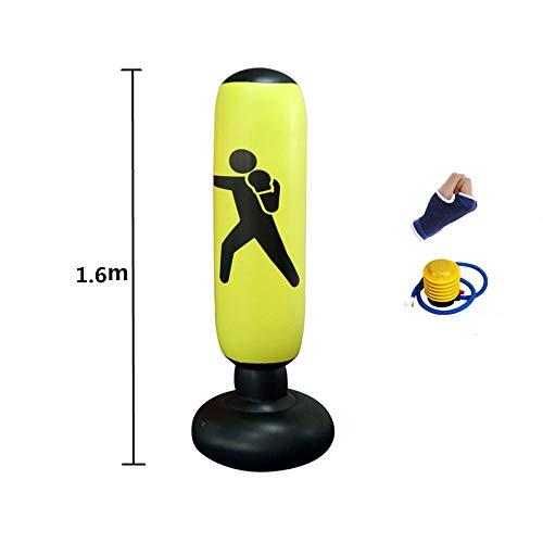 Boxing Bokszak Opblaasbare Free-Stand Tumbler Muay Thai Training Pressure Relief Terug zandzak met Air Pump verdikking,Yellow