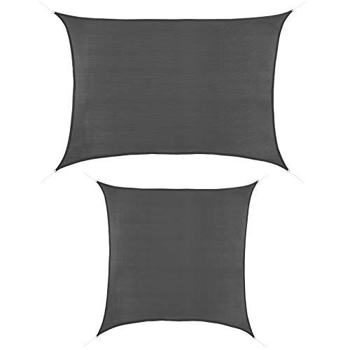 ALPIDEX Sonnensegel 2m x 3m Granit Rechteckig UV Schutz Garten Terrasse Camping Sonnenschutz Windschutz Schattenspender