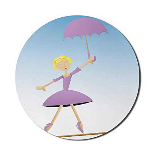 Runde Mausmatte, Regenschirm Mädchen Mauspad für Computer, Ballerina Frau auf einem Seil Tanzen Cartoon, Runde rutschfeste Gummi Modern Base Mousepad, Flieder Himmelblau Gelb Mousepad