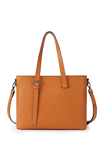 Satchel Handbag for Women ECOSUSI 15.6 inch Laptop Bag PU Leather Top-Handle Bag Ladies Work Tote Bag
