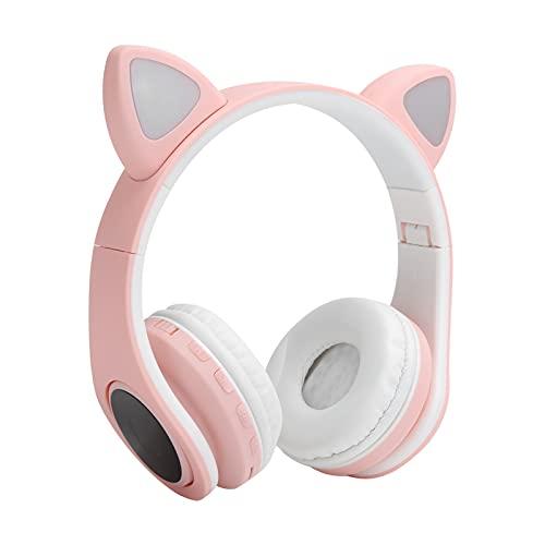 Garsentx Auriculares LED con reducción de Ruido y micrófono, Auriculares Bluetooth 5.0 con Forma de Oreja de Gato, Tiempo de música de hasta 4 Horas, Auriculares inalámbricos con Enchufe USB (Rosa)