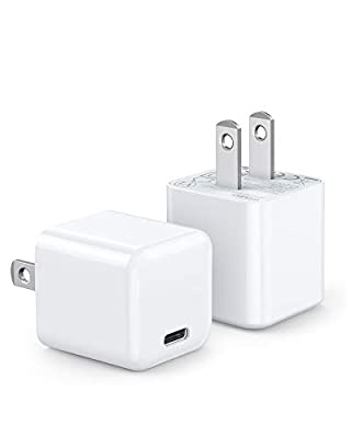 USB C Charger, 2-Pack Mini 20W iPhone 12 Fast Type C Wall Charger with PD 3.0, Durable Compact USB-C Power Adapter for iPhone 12/12 Pro Max, MagSafe Duo, 11 Pro Max (2White) by WEMISS