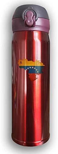 Mapa de la bandera de Bestqe de Venezuela Botellas de agua de acero inoxidable con aislamiento al vacío de doble pared Taza de viaje Termo de agua 17 oz