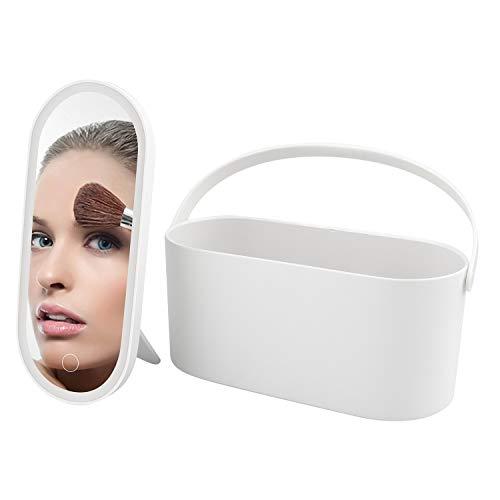 teyiwei 2 in 1 tragbarer Aufbewahrung Spiegel mit LED-Touchscreen Beleuchtete Make-up-Spiegelbox, Mehrzweck-Aufbewahrungstasche Travel Cosmetic Organizer für Reisen,Geschäftsreisen,Outdoor(White)