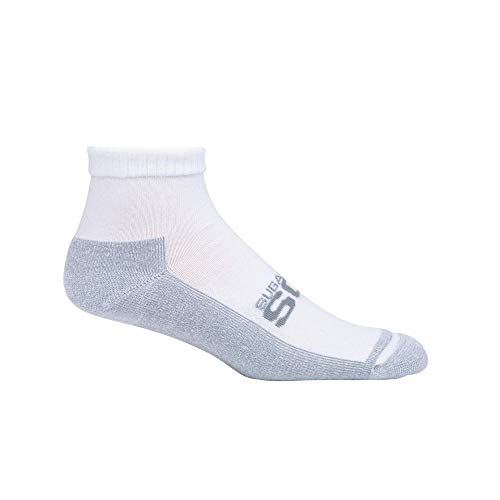 Cushioned Diabetic Socks Womens White Active Fit Crew Sock 3 Pack | Seamless Toe | Sock Size 9-11
