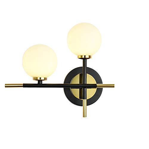 ASYKFJ Lámpara de Pared nórdica Esmerilado Bola de Cristal de la lámpara de Pared, de Fondo Pasillo Hueco de la Escalera de Hierro Forjado Pared Linterna, Minimalistas Modernos Apliques