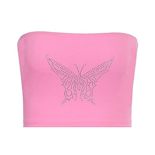 AFAY Tops Cortos Camisola Mujeres Sexy sin Tirantes de Bandeau Mariposas taladrado Caliente Envuelto Tubo de Tubo Top Sin Mangas (Color : Pink, tamaño : Large)