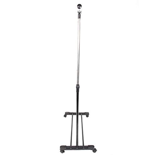 Simply-Me Clothes Garment Rack Rolling Portable Hanging Rack,Adjustable Extendable Hanger Rail Stand Clothing Rack Shelf with Lockable Wheel,Black & Silver