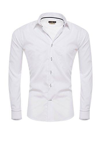 Giorgio Capone Premium Design Herrenhemd, 100% Baumwolle, weiß, Kent-Kragen mit Design-Naht, Langarm, Slim & Regular Fit (M Slim)