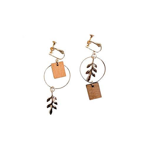Silverdee Dame Persönlichkeit Block Holz Asymmetrische Ohrringe Temperament Kreative Blatt Ohrringe