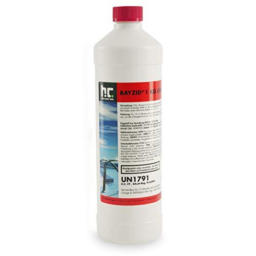 Höfer Chemie BAYZID ® 1 kg Chlor flüssig in handlicher Flasche - wirkt schnell und zuverlässig für Pool & Schwimmbad