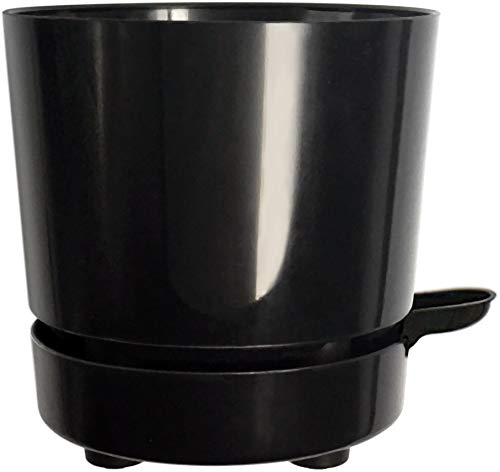 """6"""" Self Watering + Self Aerating + High Drainage, Deep Reservoir Round Plant Pot, Maintains Healthy Roots, for Indoor & Outdoor & Windowsill Gardens (Black)"""