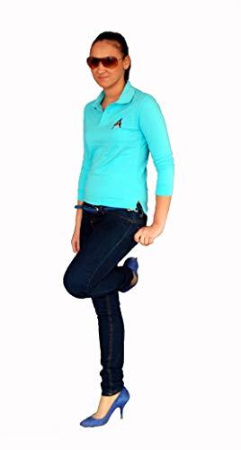 Apostel13 Frauen 3/4 Arm Skinny Fit Poloshirt Polohemd Shirt Baumwolle Polo Weiß/Schwarz/Pink/Türkis (Türkis, 38)