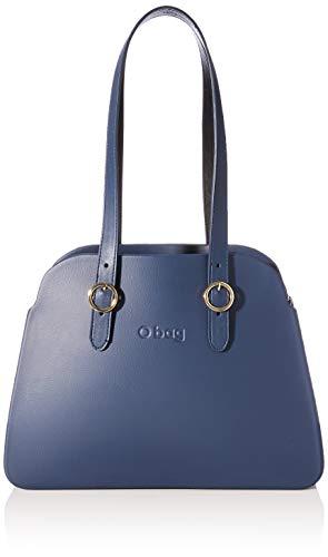 O bag Damen Borsa Completa Reverse 38 Schultertasche, Blau (Blu Navy), 10x27x35 Centimeters