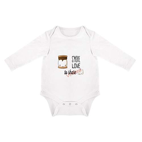 VinMea Divertido body de manga larga Smore Love lindo Marshmallow recién nacido bebé niños niñas mono (0-3 meses, blanco)