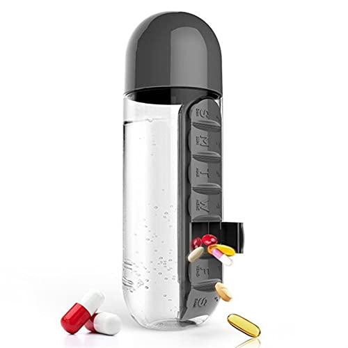 ZHAOH 600 ml Deportes Botella de Agua plástico Combinar Cajas de píldoras diarias Organizador Botellas de Beber Botella a Prueba de Fugas Vaso al Aire Libre (Color : Black)