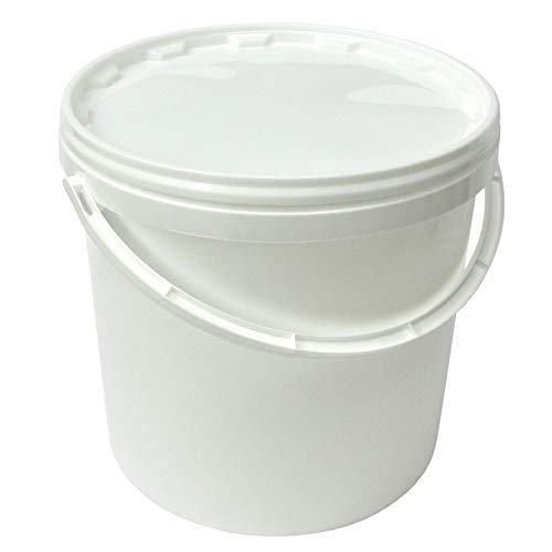 Groku 10 Liter Eimer mit Deckel, weiß, stapelbar, mit Lebensmittelfreigabe (5 Stück)