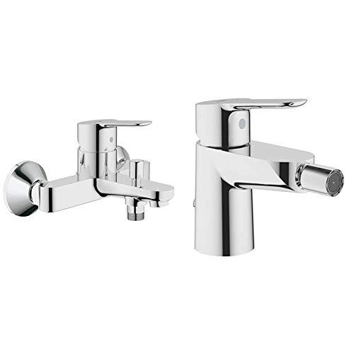 Grohe BauEdge Grifo para ducha y baño con sistema de montaje en pared e inversor automático + 23332000 23332000-Bau Edge Grifo de bidé con cadenilla