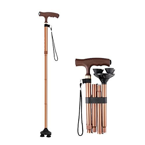 XAZ Muletas para ancianos-Bastón telescópico plegable de cuatro patas-Ligero y multifuncional con luz-Antideslizante-5 engranajes ajustables