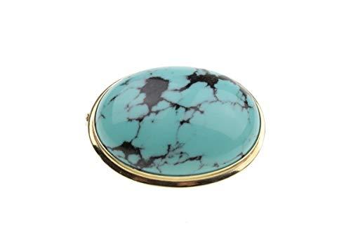 c-c Damen Brosche - Natur Edelstein -Türkis mit Matrix/grün-blau, schwarz/Gelbgold 14Karat