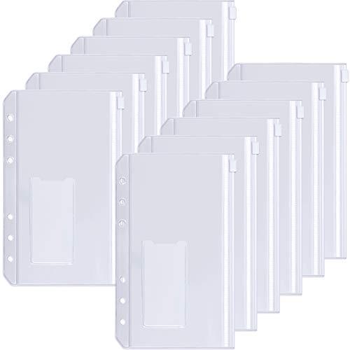 Sooez 24pcs Binder Pockets A6 Binder Zipper Folders, 6 Holes Zipper Binder Pocket with Label Pocket for 6-Ring Notebook Binder, Plastic Clear Zipper Binder Pouch Organizer for Cash, Cards