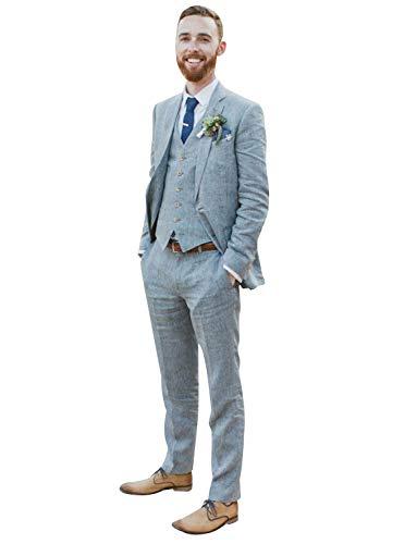 CALVINSUIT Herren Männer 3 Stücke Cyan Anzug Notch Revers Hochzeit Smoking