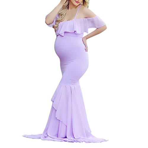 Vestido de premamá para mujer, vestido elegante para mujeres embarazadas, Maxi vestido y tirantes sin tirantes de encaje con puntales para fotografía sexy en embarazo.
