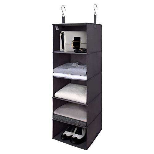 GRANNY SAYS 5-Shelf Hanging Closet Organizer Hanging Shelves for Closet Storage Collapsible Hanging Organizer Dark Gray 394 H X 122 W X 122 D
