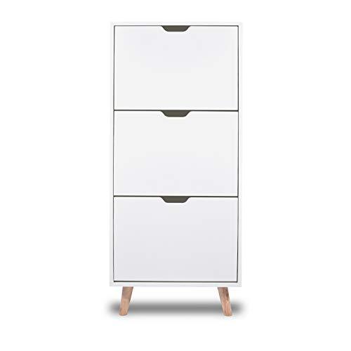 FRANKYSTAR Zapatero de diseño con estantes blancos con patas de madera de pino (3 estantes)