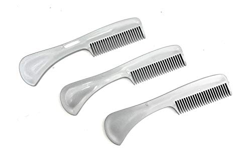 GBS 3 Pack Beard Mustache Comb X-Small. Unbreakable Fine Toothed Beard and Moustache Combs Pocket Size for Facial Hair Grooming Saw-Cut - Metallic Gray