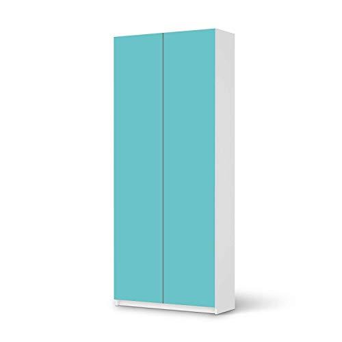Wandtattoo Möbel passend für IKEA Pax Schrank 236 cm Höhe - 2 Türen I Möbelaufkleber - Möbel-Tattoo Sticker Aufkleber I Wohnen und Dekorieren für Wohnzimmer und Schlafzimmer - Design: Türkisgrün Light