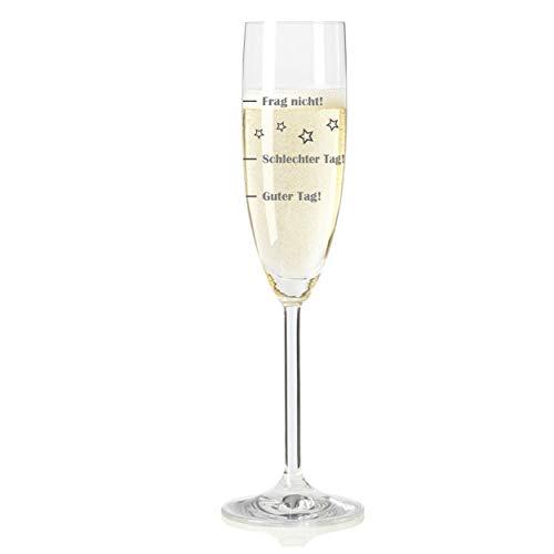 Leonardo Sektglas, Guter Tag!, Schlechter Tag!, Frag Nicht!, Geschenk Stimmungsglas mit lustiger Gravur, Mood Sekt Glas, 210 ml