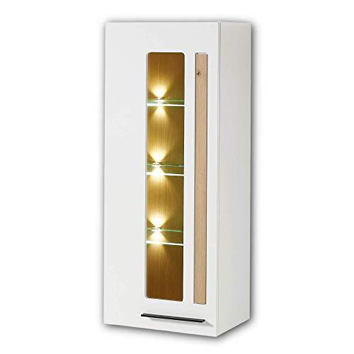 Stella Trading Vitrina Colgante Loft-Two en Aspecto de Roble Artificial, Color Blanco, Moderna Vitrina de Cristal con acogedora iluminación LED, 52 x 128 x 37 cm