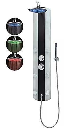 Duschpaneel Led Regendusche Duschsystem mit Thermostat Schwarz Eckmontage und Wandmontage mit 6 Massagedüsen