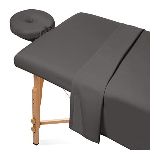 Saloniture 3-Piece Microfiber Massage Table Sheet Set - Premium Facial Bed Cover - Includes Flat and Fitted Sheets with Face Cradle Cover - Gray