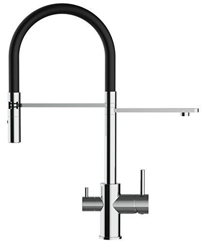 VIZIO rubinetto tre vie miscelatore lavello fontana cucina moderno molla estensibile e doccia estraibile per tutti i sistemi di filtraggio acqua (Nero)