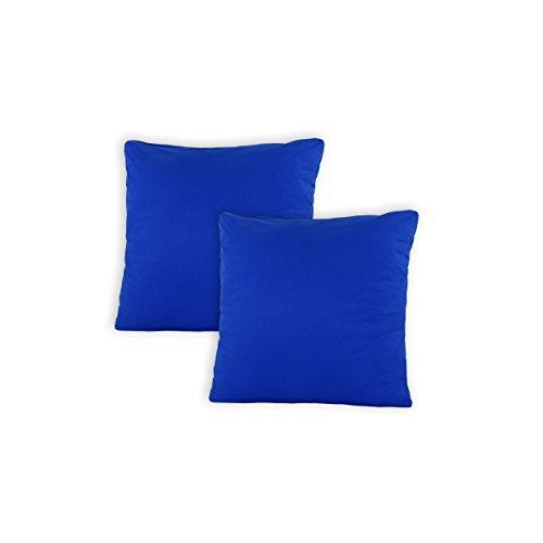 SHC Textilien Conjunto de Dos Fundas de Almohada, Funda de Almohada, Fundas 100% algodón con Cremallera - 15 Colores y 5 tamaños 40x60 cm Real/Azul Real
