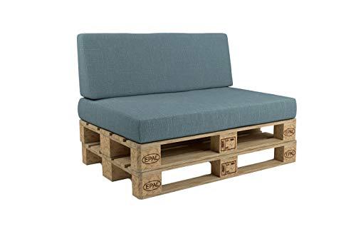 Set cuscino e schienale per divano pallet BLU Seduta pallet cm 120 x 80 schienale 50 cm.
