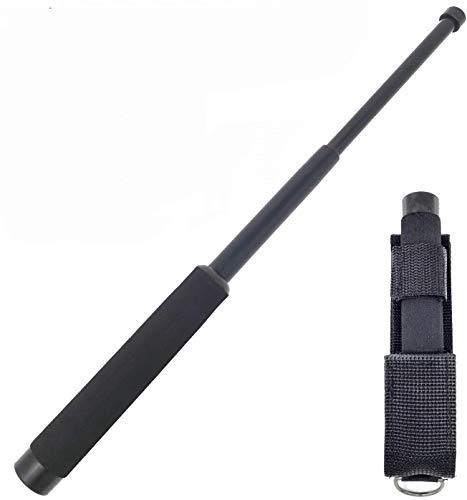KT Manganello Estensibile Professionale, Bastone Autodifesa Telescopico - in Acciaio Robusto per Difesa Personale con Fondina (Black S (17-41 cm))