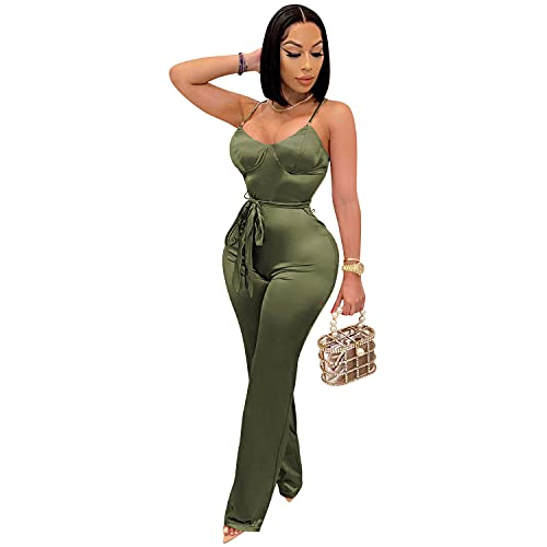 Women's One Piece Long Wide Leg Pant Jumpsuits Sexy Off Shoulder Tube Top Romper Jumpsuit Spaghetti Strap Playsuit with Belt (Green,X-Large)