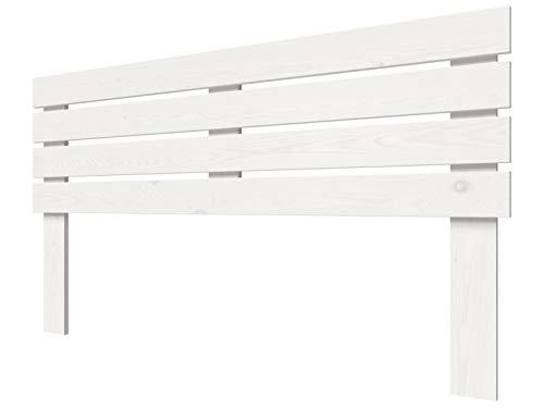 LA WEB DEL COLCHON - Cabecero de Madera Rústico Lombardía para Cama de 150 (160 x 100 cms) Blanco nórdico | Cabeceros Madera | Dormitorio Matrimonio | Cabezal Cama |Estilo nórdico