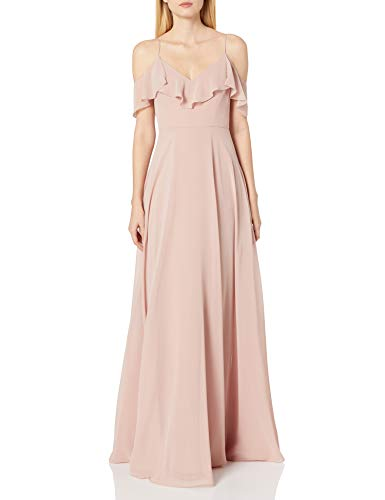 Jenny Yoo Women's Mila Ruffle Cold Shoulder Long Chiffon Gown, Whipped Apricot, 6 (Apparel)