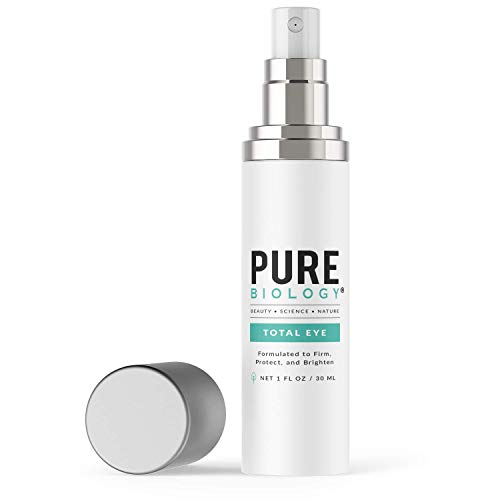 Pure Biology Premium Total Eye Cream Serum - Anti Aging Vitamin C, E & Hyaluronic Acid Reduce Dark Circles, Puffiness, Under Eye Bags, Wrinkles & Fine Lines for Men & Women (1 oz)
