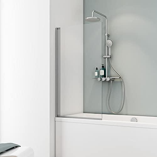 Schulte Duschwand Berlin, 70 x 130 cm, 5 mm Sicherheitsglas klar hell, alunatur, D16503 01 50, Duschabtrennung für Badewanne
