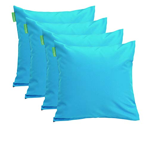 Gardenista Premium Large Garden Scatter Cushion | Hollowfibre Filled Outdoor Furniture Pillow | Great for Patio Rattan Chairs | Water Resistant | 4 Pack (Turquoise)