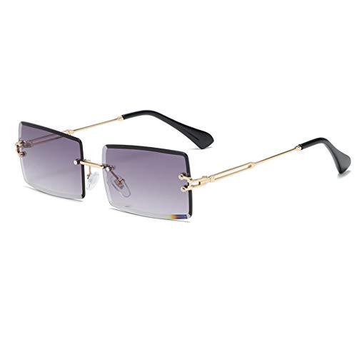 Long Keeper Occhiali da sole rettangolari senza montatura Occhiali da sole quadrati senza montatura UV400 moda antiriflesso per donna (Grigio sfumato oro)