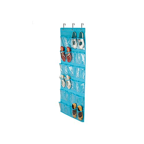 Jkhome Over The Door Hanging Toy Organizer Rack Holder Home Non-woven Transparent Storage Bag 24 Pockets With 3 Hooks Blue