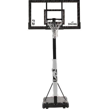 Spalding NBA 60' Acrylic Portable Hoop Backboard Universal and NBA Super Tack Indoor Outdoor Basketball for Kids and Adults